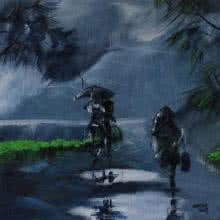 Scenic Acrylic Art Painting title Rainy Day by artist Mopasang Valath