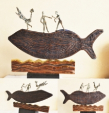 Wood, Metal Sculpture titled 'Fisherman' by artist Renu Bala
