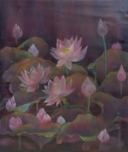 Nature Mixed-media Art Painting title 'Lotus' by artist Atin Mitra