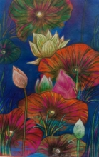 Atin Mitra | Mixed-media Painting title Melody Of Lotus 1 on Paper | Artist Atin Mitra Gallery | ArtZolo.com
