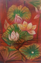 Atin Mitra | Mixed-media Painting title Melody Of Lotus 2 on Paper | Artist Atin Mitra Gallery | ArtZolo.com