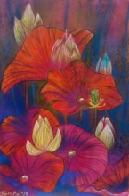 Atin Mitra | Mixed-media Painting title Melody Of Lotus 3 on Paper | Artist Atin Mitra Gallery | ArtZolo.com