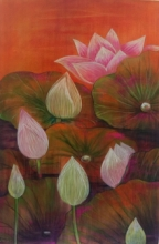 Atin Mitra | Mixed-media Painting title Melody Of Lotus 5 on Paper | Artist Atin Mitra Gallery | ArtZolo.com