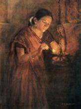 Figurative Oil Art Painting title Divine Flame (Glow Of Hope) by artist Sawlaram Haldankar