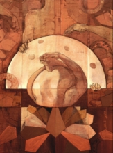 contemporary Mixed-media Art Painting title Heet Mundo Urdho Paad by artist Satyabrata Adhikary