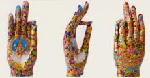 Fiberglass Sculpture titled 'Gyan Mudra 2' by artist Ashish Tyagi