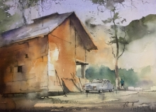 Cityscape Watercolor Art Painting title 'Cottage At Chamba' by artist Mohd Qaseem Farooqui
