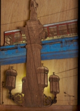 art, sculpture, teak wood, cityscape