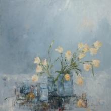Libbi Gooch | Oil Painting title Daffodils In The Studio on Gesso Board | Artist Libbi Gooch Gallery | ArtZolo.com