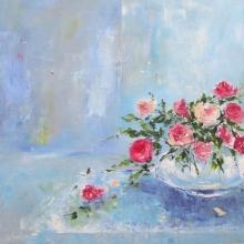 Libbi Gooch | Oil Painting title Show Off on Gesso Board | Artist Libbi Gooch Gallery | ArtZolo.com