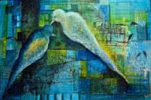 Animals Mixed-media Art Painting title 'Love Birds' by artist Shuchi Khanna