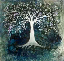 Blue Tree | Painting by artist Shuchi Khanna | mixed-media | Canvas