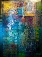 Abstract Mixed-media Art Painting title 'Blue' by artist Shuchi Khanna