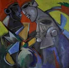 Multiples Faces V   Painting by artist Kapil Kumar   acrylic   Canvas