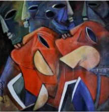Figurative Acrylic Art Painting title 'Multiples Faces IV' by artist Kapil Kumar