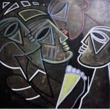 Multiples Faces I | Painting by artist Kapil Kumar | acrylic | Canvas