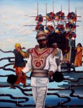contemporary Mixed-media Art Painting title Black Entertainment by artist Digbijayee Khatua