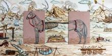 contemporary Mixed-media Art Painting title 'Broken Horse On The Broken Land' by artist Digbijayee Khatua
