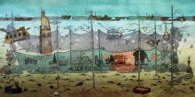 contemporary Mixed-media Art Painting title 'Time' by artist Digbijayee Khatua