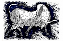 Animals Pen-ink Art Drawing title 'Blue Bull Series 10' by artist Rashid Ahamad