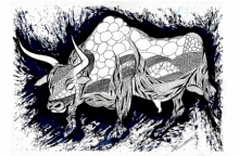 Animals Pen-ink Art Drawing title 'Blue Bull Series 3' by artist Rashid Ahamad