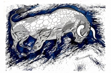 Animals Pen-ink Art Drawing title 'Blue Bull Series 4' by artist Rashid Ahamad