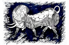Animals Pen-ink Art Drawing title 'Blue Bull Series 7' by artist Rashid Ahamad