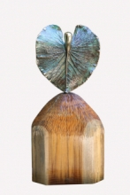 art, sculpture, oxidized bronze, wood, figurative