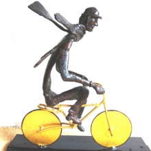 Bronze, Steel Sculpture titled 'The Bicycle Rider' by artist Usha Ramachandran