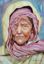 Portrait Watercolor Art Painting title 'An Old Lady' by artist Rajnikanta Singh