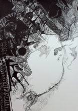 contemporary Pen Art Drawing title 'Virtual Domain' by artist Rachana Shah