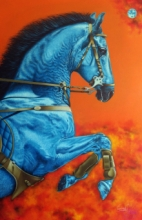 Animals Acrylic Art Painting title 'Unstoppable 5' by artist Sanket Sawant