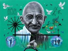 contemporary Acrylic Art Painting title 'Gandhi' by artist Rawindra Das