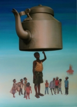 contemporary Oil Art Painting title Yamu by artist Ranjeet Singh