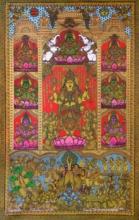 Religious Acrylic Art Painting title 'Ashtalakshmi' by artist Harinath N