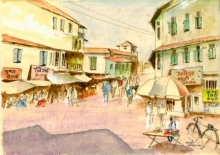 Cityscape Watercolor Art Painting title 'Daund Market' by artist Ramessh Barpande