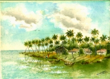 Seascape Watercolor Art Painting title 'Kochi Island' by artist Ramessh Barpande