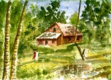 Nature Watercolor Art Painting title 'Red House At Thiruvanantpuram' by artist Ramessh Barpande