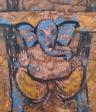 Religious Oil Art Painting title 'Untitled 82' by artist Santoshkumar Patil