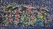 Sarang Singla | Acrylic Painting title Drizzle on Canvas | Artist Sarang Singla Gallery | ArtZolo.com