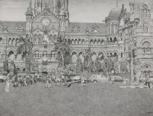 Cityscape Pen-ink Art Drawing title Cst by artist Umesh Ghadge