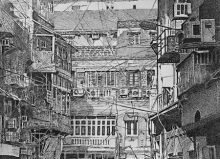 Cityscape Pen-ink Art Drawing title Gully by artist Umesh Ghadge