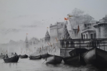 Cityscape Charcoal Art Painting title 'Ganga Ghat 2' by artist Akash Parkande
