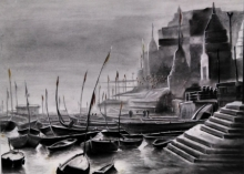 Cityscape Charcoal Art Painting title 'Ganga Ghat 4' by artist Akash Parkande