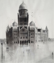 Cityscape Charcoal Art Painting title 'Old Mumbai 2' by artist Akash Parkande