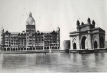 Cityscape Charcoal Art Painting title 'Old Mumbai 3' by artist Akash Parkande