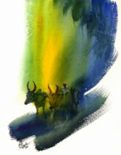 Figurative Watercolor Art Painting title 'Bullwhacker' by artist Mv Renju