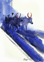 Figurative Watercolor Art Painting title 'Bullwhacker 1' by artist Mv Renju