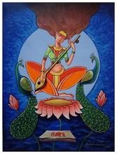 Portrait Acrylic Art Painting title Goddess Saraswati by artist Santosh Dangare Santosh Narayan Dangare