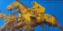 Figurative Acrylic Art Painting title 'Jockey 2' by artist Nayanjeet Nikam